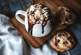 chocolate marshmallow frappe served in mug